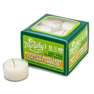 Murphy's Naturals Mosquito Repellent Tea Light Candles | Outdoor Citronella Candles Great for Patio, Yard and Garden | Ingredients Include Rosemary, Peppermint, Lemongrass and Beeswax (12-Pack)