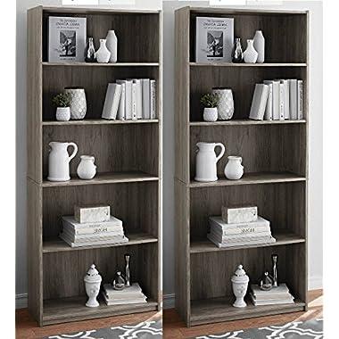 More Sweet Deals Set of 2 Bookcase 5-Shelf Wood Adjustable Shelves Home Offeice Storage - Rustic Oak