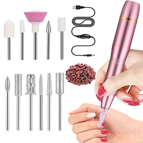 Elektrische Nagelfeile Set für Gelnägel - Pediküreset Elektrisch 11 in 1 Professionell nagelfräser für Acrylnägel, Gelnägel, Kallus Entfernen, Zuhause und Nagelstudio Maniküre Set (Rosa)