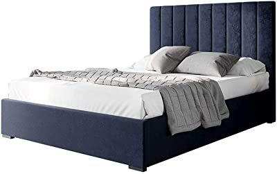 Velvet Fabric Upholstered Bed Frame Bed Base Queen Bedroom Furniture Navy