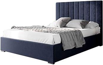 Velvet Fabric Upholstered Bed Frame Bed Base Queen Bedroom Furniture Navy