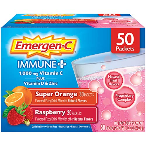 Price comparison product image Emergen-C Immune+ 1000mg Vitamin C Powder,  with Vitamin D,  Zinc,  Antioxidants and Electrolytes,  Immune Support Dietary Supplement,  Super Orange and Raspberry Flavors - 0.33 Ounce (Pack of 50)