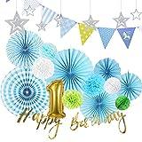 SUNBEAUTY 1歳誕生日飾り付けセット 男の子 ペーパーデコレーション ペーパーファン ハニカムボール ペーパーフラワー HAPPY BIRTHDAY 装飾 バースデー ガーランド 写真背景 パーティー飾り ブルー
