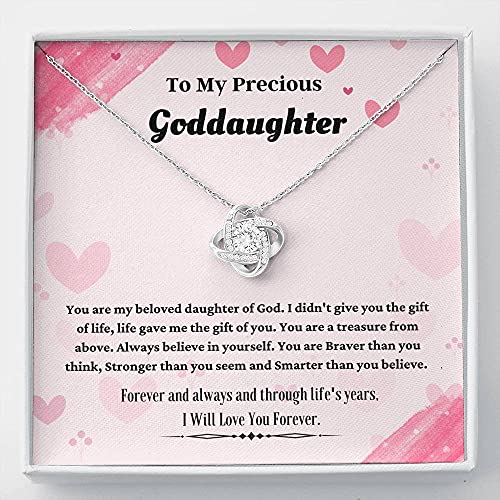 Personalized Necklace Gift, Goddaughter Gifts from Godmother- Goddaughter Baptism, Goddaughter Love Knot Necklace, First Communion, Girl Birthday, Christening, With Message Card & Box V21