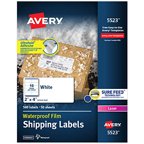 """Avery Waterproof Shipping Labels with Sure Feed & TrueBlock, 2"""" x 4"""", 500 White Laser Labels (5523)"""