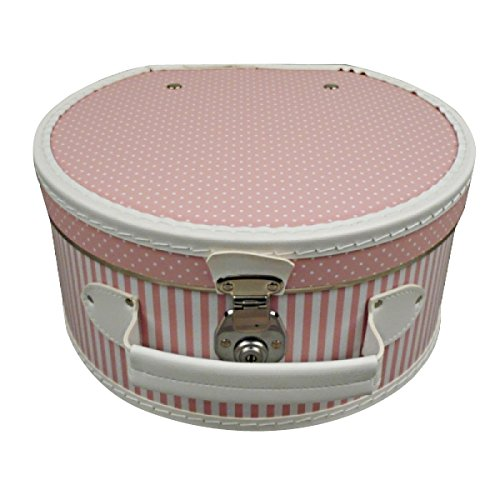Hutschachtel Pappe rosa mit weißen Punkten und Streifen ca. Ø 40 x 20 cm Hutkoffer Hutbox Hutaufbewahrung Hutschachte Hutkiste Hutkarton