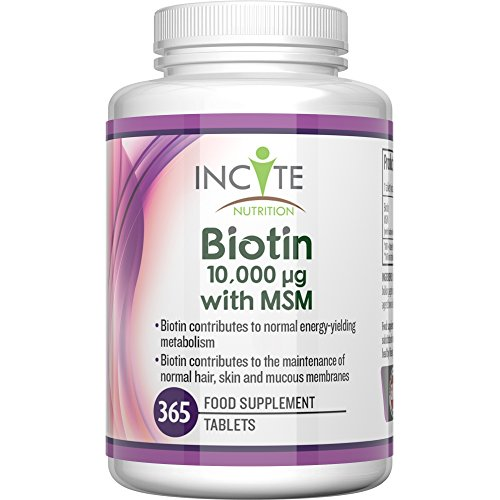 Vitamine per la crescita dei capelli con Biotina + MSM, 10.000mcg di Biotina + 250mg MSM (365 compresse - non capsule da 5000mcg) SODDISFATTI O RIMBORSATI Prodotte in UK - Scorta per Sei Mesi dei Migliori Integratori per la Perdita dei Capelli Migliore Trattamento di Bellezza per Uomini e Donne Glucosammina - Biotina B7 di Incite Nutrition +Complesso di MetilSulfonilMetano Migliore dello Shampoo, Per Capelli Sani.