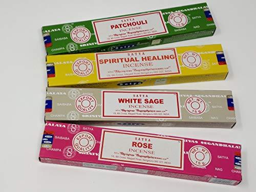 Satya Nag Champa Räucherstäbchen, spirituelle Heilung, Rose, Patchouli, weißer Salbei, mit magnetischem Lesezeichen von Sterling Effectz