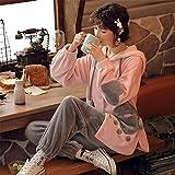 DUJUN Pijama para Mujer otoño e Invierno Coral Polar de Manga Larga más Terciopelo Grueso Franela Cardigan Damas Pijama Lindo Traje de Servicio a Domicilio A-4 XXL