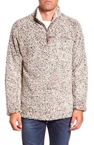 PAAZA Mens 1/4 Zip Fleece Pullover Frosty Pile Tipped Sweater Stadium Fleece Sherpa Pullover Hoodie (Charcoal Gray, Medium)