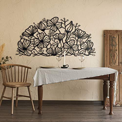 Hoagard Flore Metal Wall Art - Decorazione da parete in metallo, 153 cm x 76 cm, colore: Nero