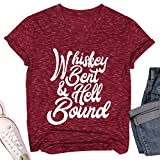 Whiskey Bent and Hellbound T Shirt Drinking Cheers Tshirt Country Music Party Tee Short Sleeve Shirt for Women Dark Wine Red