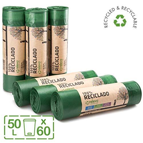 Relevo 100% Reciclado Bolsas de Basura, extra resistentes 50 L, 60 bolsas