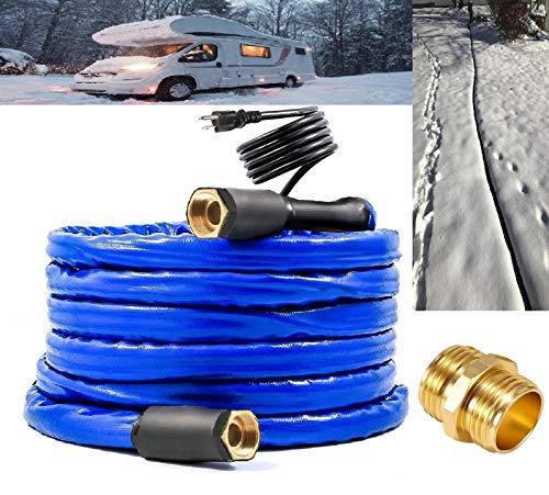 H&G lifestyles Heated Water Hose for RV 1/2' Inner Diameter 25 ft Withstand Temperatures Down to -40°F Self-Regulating