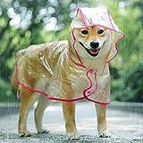 KoKoBin Chubasquero reflectante para perros y gatos con capucha, ajustable, de PVC transparente, ultraligero, para perros de talla pequeña (rojo, M)