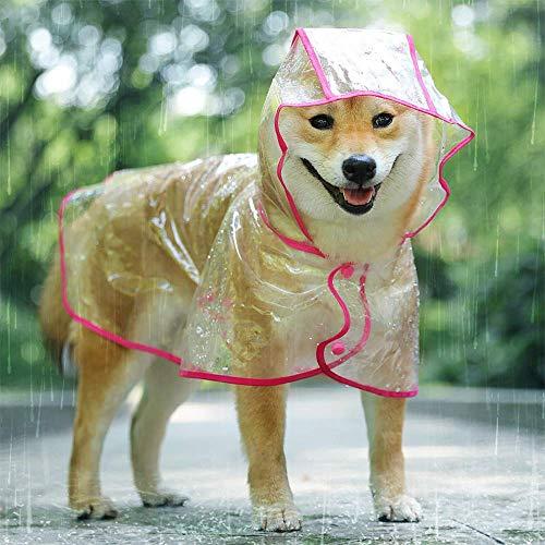 KoKoBin Chubasquero reflectante para perros y gatos con capucha, ajustable, de PVC transparente, ultraligero, para perros de talla pequeña (roja, S)