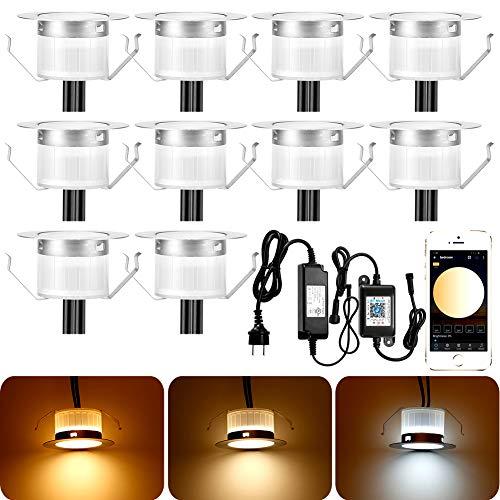 10 faretti LED da incasso a pavimento, Bluetooth, luce bianca calda, 2700 K-6500 K, diametro 45 mm, 12 V, LED da incasso, per terrazzo, illuminazione IP67, impermeabile, per balconi, scale
