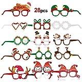 HOWAF 28 pcs Gafas Decorativas Navideñas, Navidad Gafas Divertidas de Papel Papá Noel Cuerno de Ciervo Gafas Navidad Disfraz Accesorio de Cabina de Fotos Fiesta de Navidad para Niños y Adultos