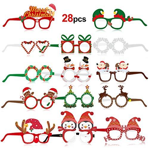 HOWAF 28 Stück lustig Weihnachtenbrillen Schneemann Weihnachtsmann Weihnachtsbaum Rentier Partybrille Rahmen Foto Requisiten weihnachtsbrillen für Erwachsene und Kinder Weihnachts Kostüm Dekoration