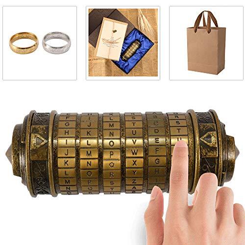 Blusea Serratura a Cilindro Regalo rétro, da Vinci Code Cryptex con Scatola per Uomo Donna Compleanno/Anniversario, Lock Puzzle per Bambini