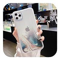ゲスト Gradient Marble Texture Glitter Phone Case For iPhone 11 11Pro Max XR XS Max X 6S 7 8 Plus 11Pro SE2020透明裏表紙-T1-For iPhone X
