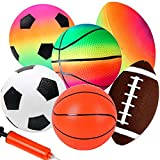 KUANGO Inflatable Sport Toddler Rainbow Balls Set with Pump for Toddler, 6 Pcs Baby Balls Includes Football, Basketball, Rugby, Backyard Game Outdoor Sports for Kids