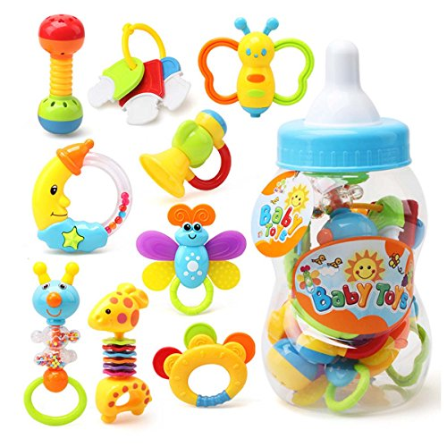 Review FYGOOD 9 Pack Kid Baby Toys Set Teethers Rattle with Organizer Bottle 13.4x5.1in