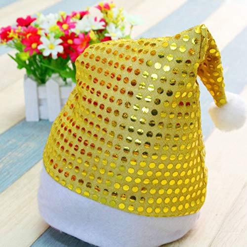 Greatangle-UK Adornos navideos Decoracin Lentejuelas Sombrero de Navidad Sombreros de Santa Mujeres Hombres Gorra Accesorios de Fiesta de Navidad Sombrero temtico de Vacaciones Dorado
