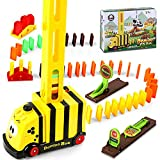 100 Piezas Juego de Juguete de Tren Domino, Domino Juguete de Tren, Educativos Domino Train Toy Set para Toy Girl Boy Niños Niños Regalo,Amarillo