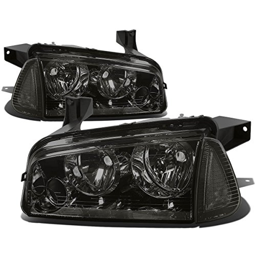 DNA Motoring HL-OH-CHA05-4P-SM-CL1 Smoke Lens Headlights Replacement For 06-10 Charger