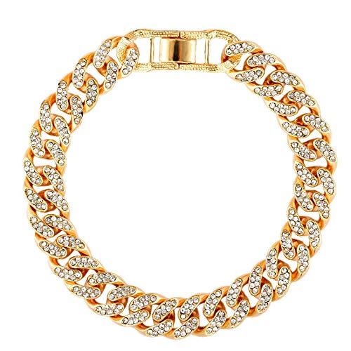 weichuang Tobillera de cadena de metal para hombre con diamantes de imitación, color dorado y plateado (color metal: 002501GD)