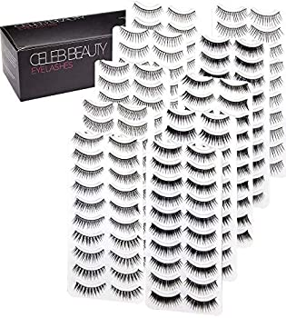 Celeb Beauty Eyelash Splashes 100 Pair Faux Lashes Variety Pack – Reusable Fake Eyelashes in 10 Styles – Hypoallergenic Strip False Lashes Set with Soft Natural Fluttery Wispies Dramatic Falsies