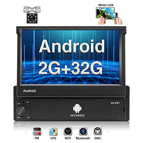 [2G+32G] Upgraded Hikity Android Single Din Car Stereo 7 Inch Flip Out Touch Screen Radio Supports FM Bluetooth WiFi GPS Navigation Mirror Link for Phone Android/iOS + Backup Camera In-Dash Navigation