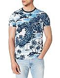 Tommy Hilfiger All Over Hawaiian Print Tee T-Shirt, Blanc/Bleu/intégral, M Homme
