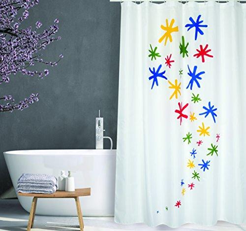 """MSV Cotexsa by Premium Anti-Schimmel Textil Duschvorhang - Anti-Bakteriell, waschbar, 100prozent wasserdicht, mit 12 Duschvorhangringen - Polyester, """"Orion"""" Weiß Bunt 180x200cm – Made in Spain"""