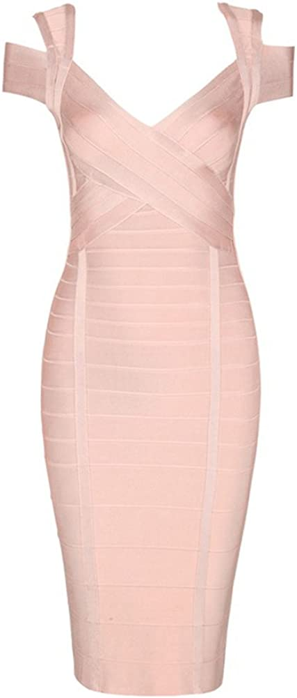 UONBOX Women's Elegant Off Shoulder Knee Length Bodycon Night Party Bandage Dress
