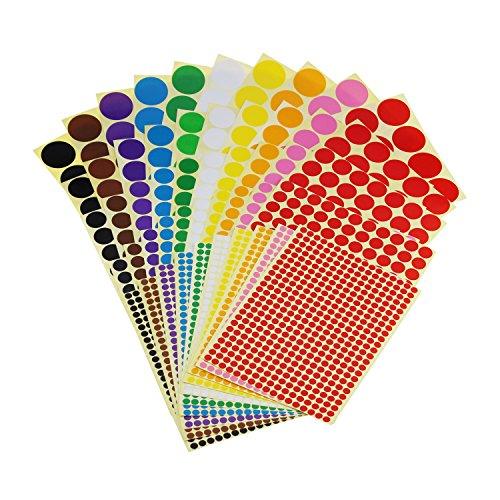 Klebrige Farbkodierungsetiketten, entfernbar, kleine Kreise, Punkte, Aufkleber, 10 Farben, insgesamt 50 Blatt