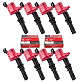 MAS Set of 8 Ignition Coils DG511 and Motorcraft SP515 SP546 Spark Plug Compatible with Ford Lincoln Mercury V8 V10 5.4l 6.8l 3L3E12A366CA 5C1584 C1541 FD-508 DG511 RED DG-511