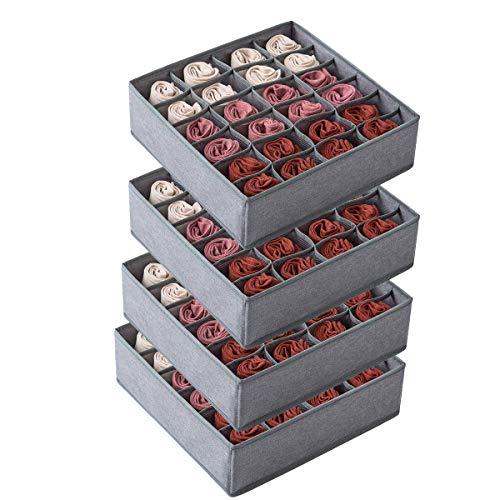 Qozary Paquete de 4 separadores para calcetines, ropa interior, cajones, 24 celdas, organizador de armario plegable, cajas de...