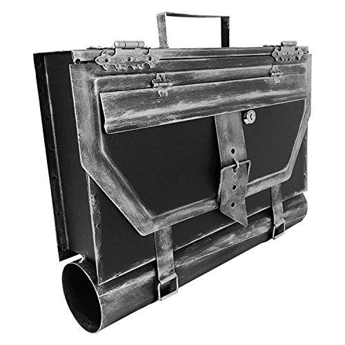 Mojawo Wandbriefkasten Briefkasten Postkasten Zeitungsrolle Schultasche mit Zeitungsfach Post Wandmontage Silber Antik-Look