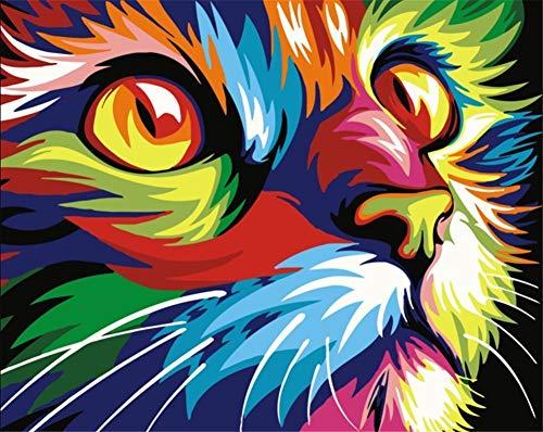 YEESAM ART DIY Ölgemälde Malen nach Zahlen Erwachsene Kinder, Bunt Gemalter Katze Kopf Zahlenmalerei ab 5 Öl Wandkunst (Bunt, ohne Rahmen)