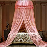 Jolitac Bed Canopy Lace Mosquito Net for Girls Beds, Unique Princess Play Tent Mesh Canopies Large Lace Dome Curtain Drapes Home & Travel (Pink)
