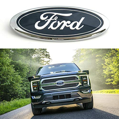 GLAAPER FD Front Tailgate Emblems, Oval 9'X3.5' Decal Badge Nameplate Replacement for Ford F150 F250 F350 Explorer Edge Expedition Ranger(Dark Blue)