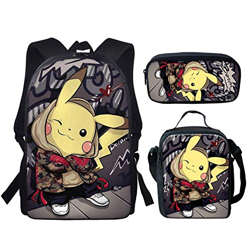 spArt Mochila escolar con estampado de anime Pikachu para niños y niñas, bolsa de hombro, lonchera, bolsa de lápices, juego de 3 piezas, Pokemon A13 (Multicolor) - sp-cgk