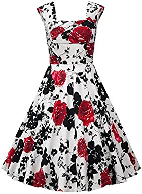 Babyonline Vintage 1950's Floral Spring Garden Party Picnic Party Cocktail Dress