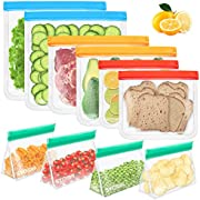 Bamoer Reusable Food Storage Bags, 10 Pack BAP FREE Food Freezer Bags, Double Ziplock Sealing Strip, Leakproof, Extra Thick Lunch Bags for Marinate Food, Fruit Cereal, Vegetables, Snacks