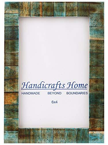 Handicrafts Home 4x6 Verdín Hueso Imagen Marcos Chic Marco de Fotos Hecho a Mano Vintage