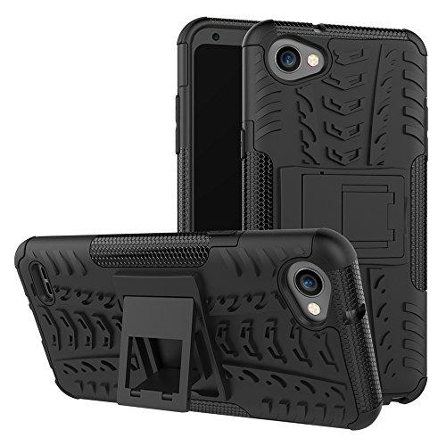 XINYUNEW Funda LG Q6, 360 Grados Protective+Pantalla de Vidrio Templado Caso Carcasa Case Cover Skin móviles telefonía Carcasas Fundas para LG Q6-Negro