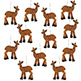 BANBERRY DESIGNS Miniature Deer Ornaments - Set of 12 Woodland Wild Life Hanging Deer Christmas Tree Decorations - Fairy Garden