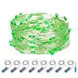 ITART Micro LED String Lights Battery Powered 8 Pack Green Mini String Light 20 LED 6ft Ultra Thin Silver Wire Rope Lights for Christmas Trees Wedding Parties Bedroom